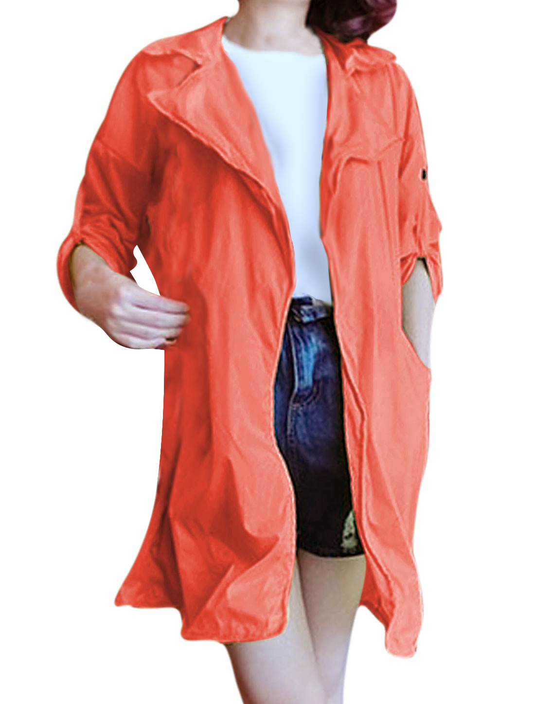 Women Notched Lapel Opening Front Cuffed Loose Thin Long Jacket Orange XS