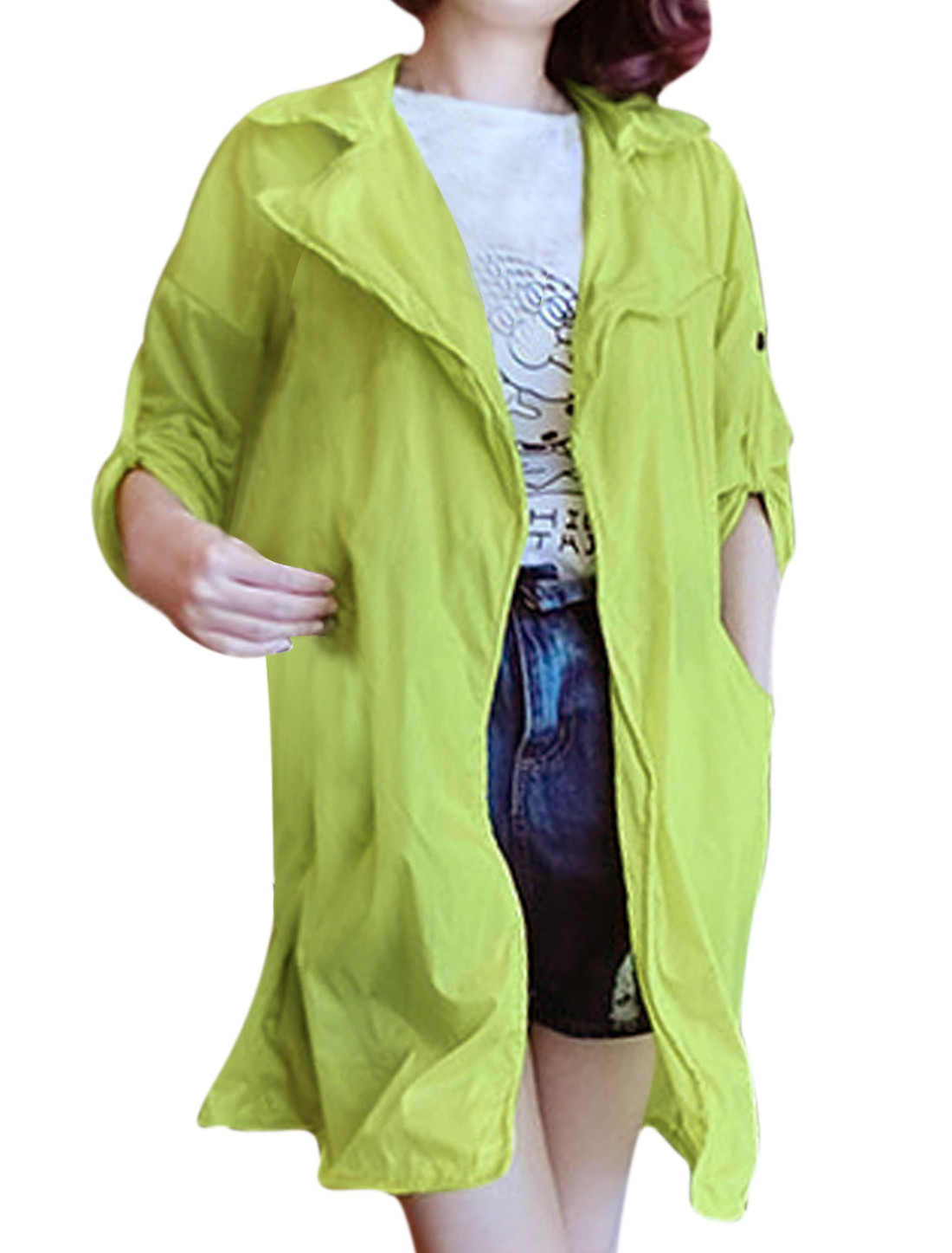 Women Notched Lapel Slant Pockets Cuffed Loose Thin Long Jacket Green XS