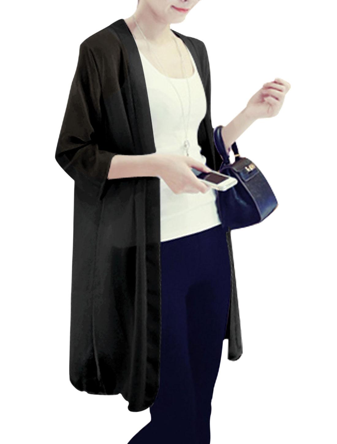 Lady Front Opening 3/4 Sleeve Thin Long Chiffon Cardigan Black S