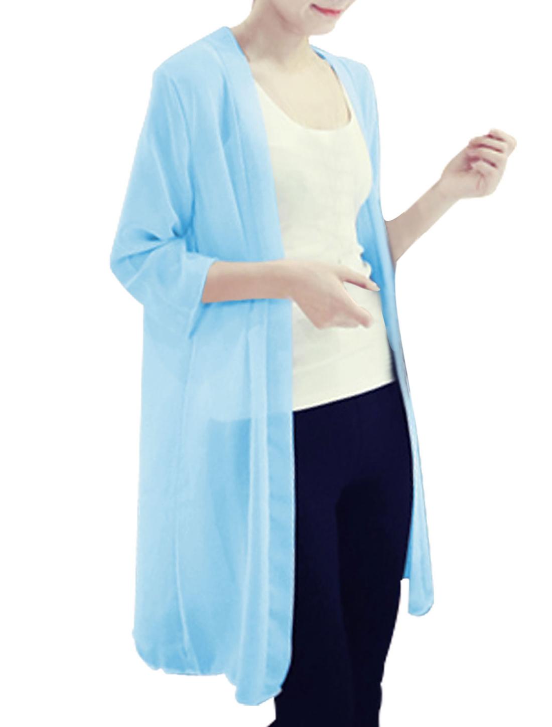 Lady 3/4 Sleeve Thin Long Chiffon Cardigan Sky Blue S