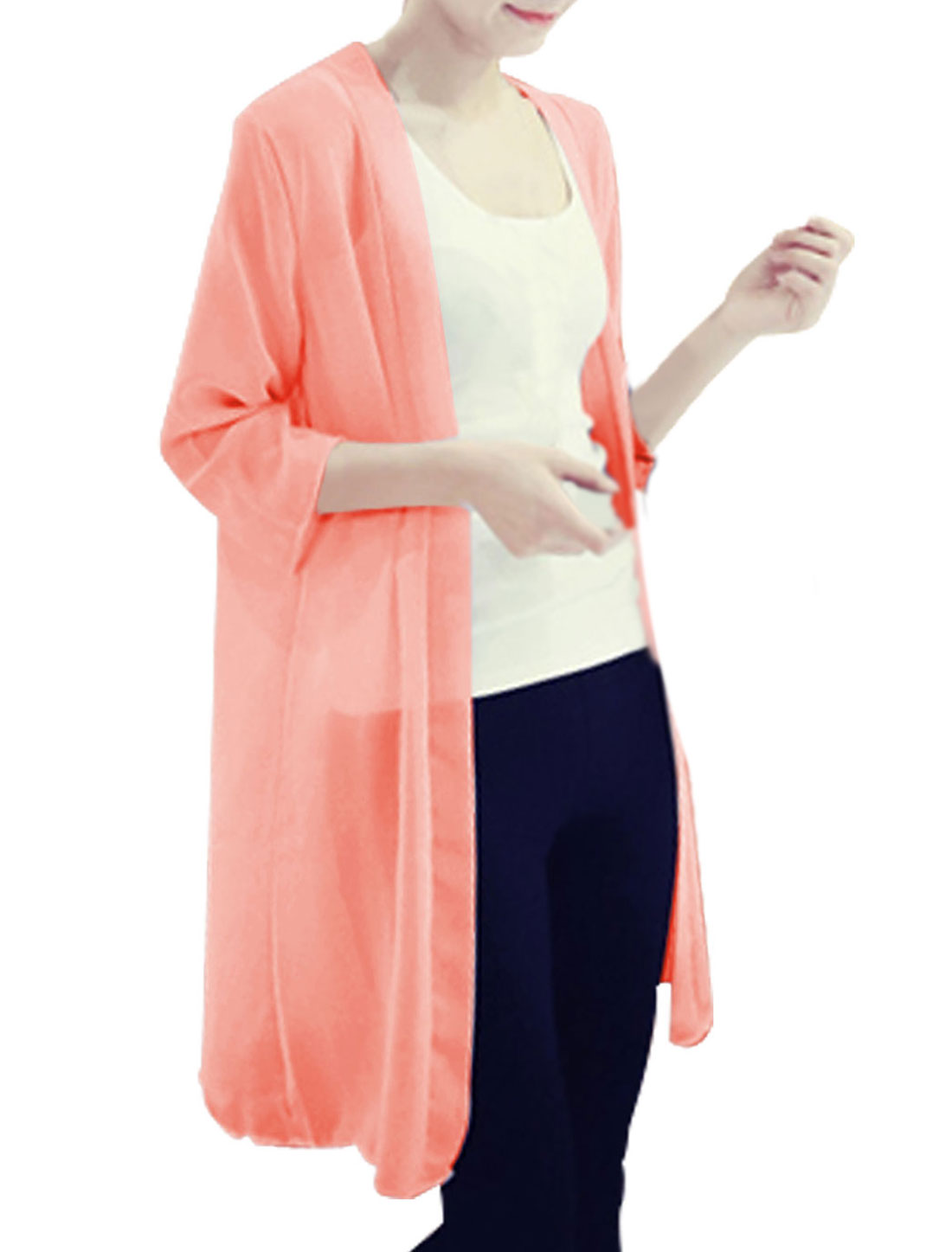 Lady Front Opening 3/4 Sleeve Loose Long Chiffon Cardigan Salmon S