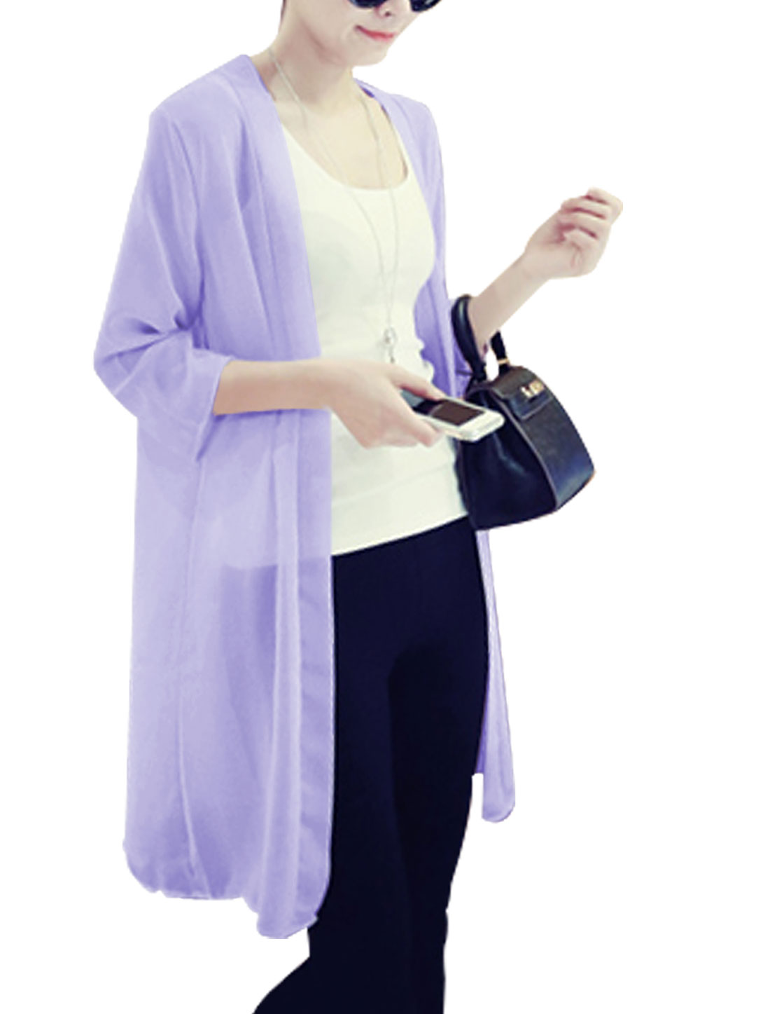 Lady Casual Front Opening Thin Long Chiffon Cardigan Lavender S