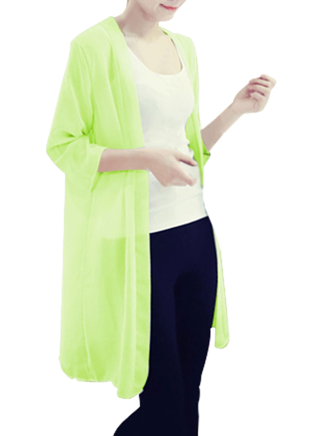 Lady Front Opening Long Chiffon Cardigan Green Yellow S