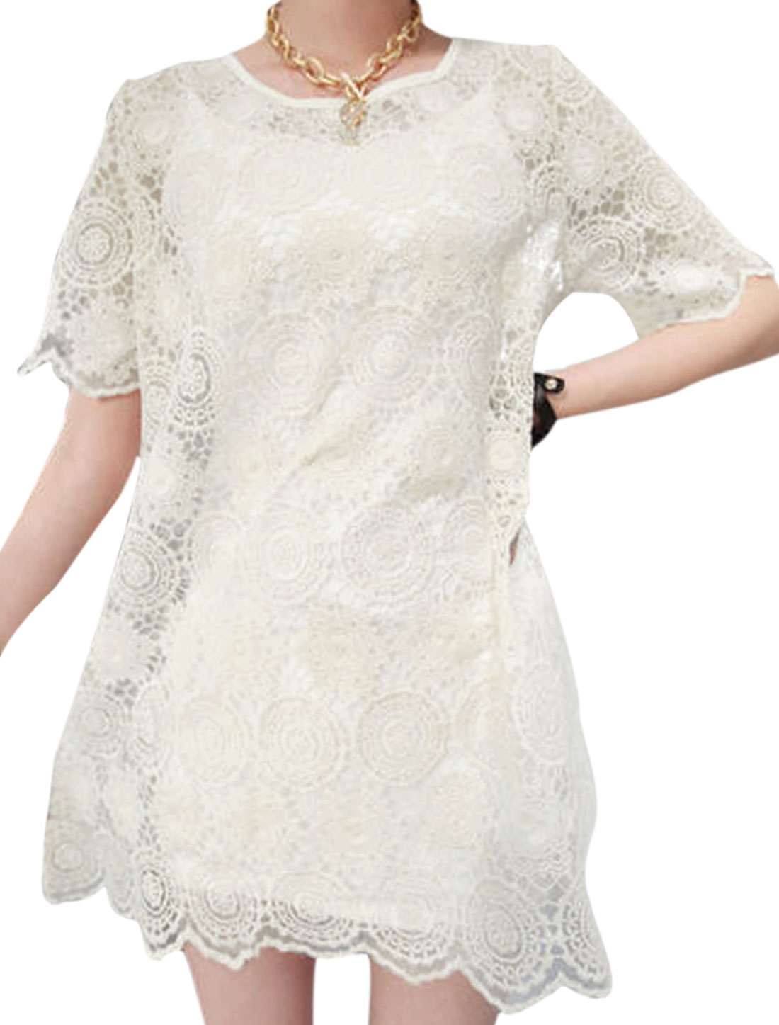 Lady Round Neck Irregular Hem Crochet Lace Smock Dress Beige XS