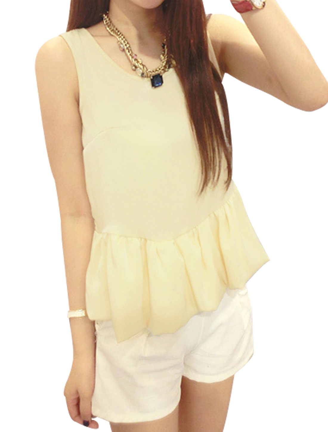 Lady Round Neck Sleeveless Flounce Hem Ruched Detail Tank Top Light Yellow S