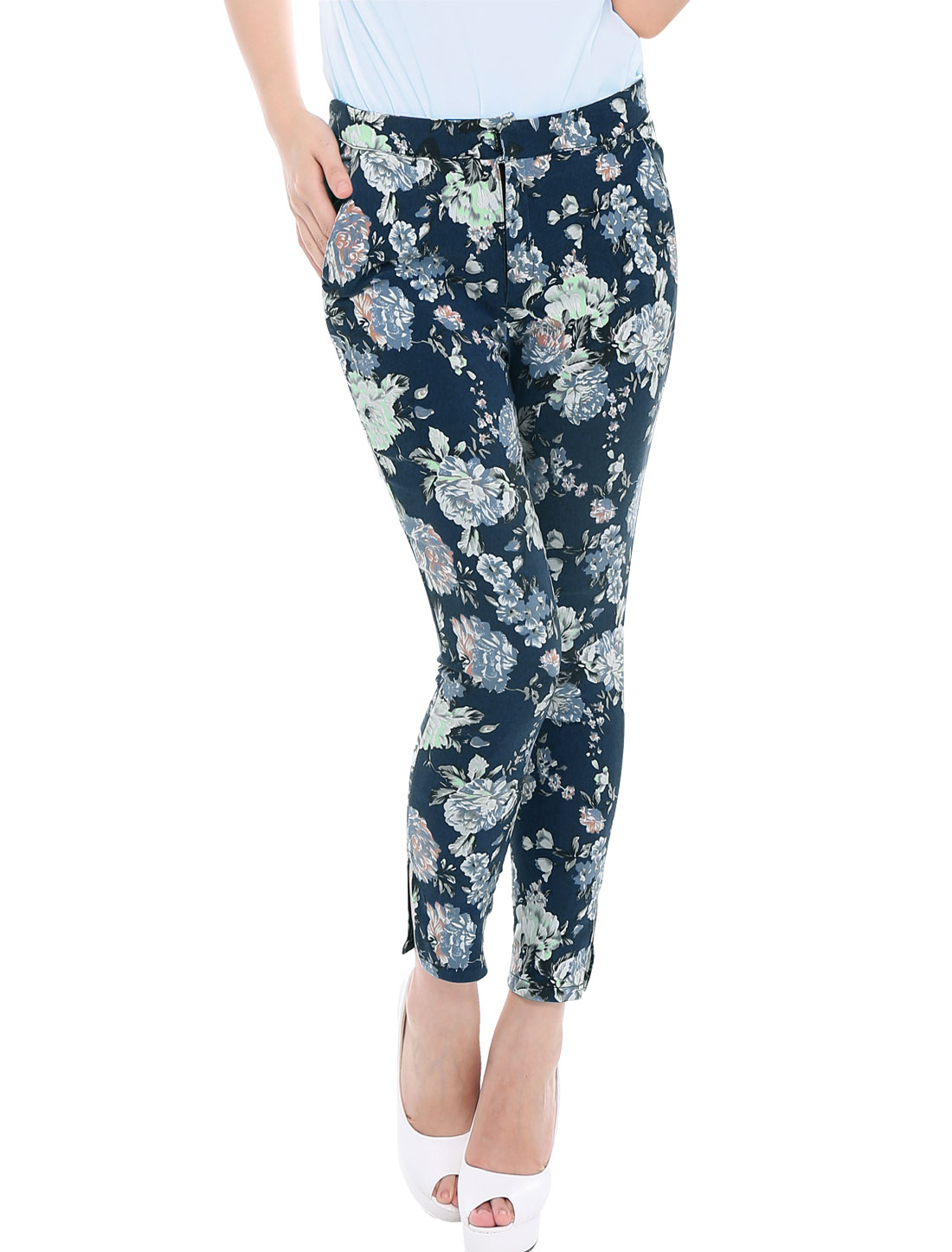 Lady Floral Print Zip Fly Hook Eye Closure Stretchy Cropped Pants Navy XS