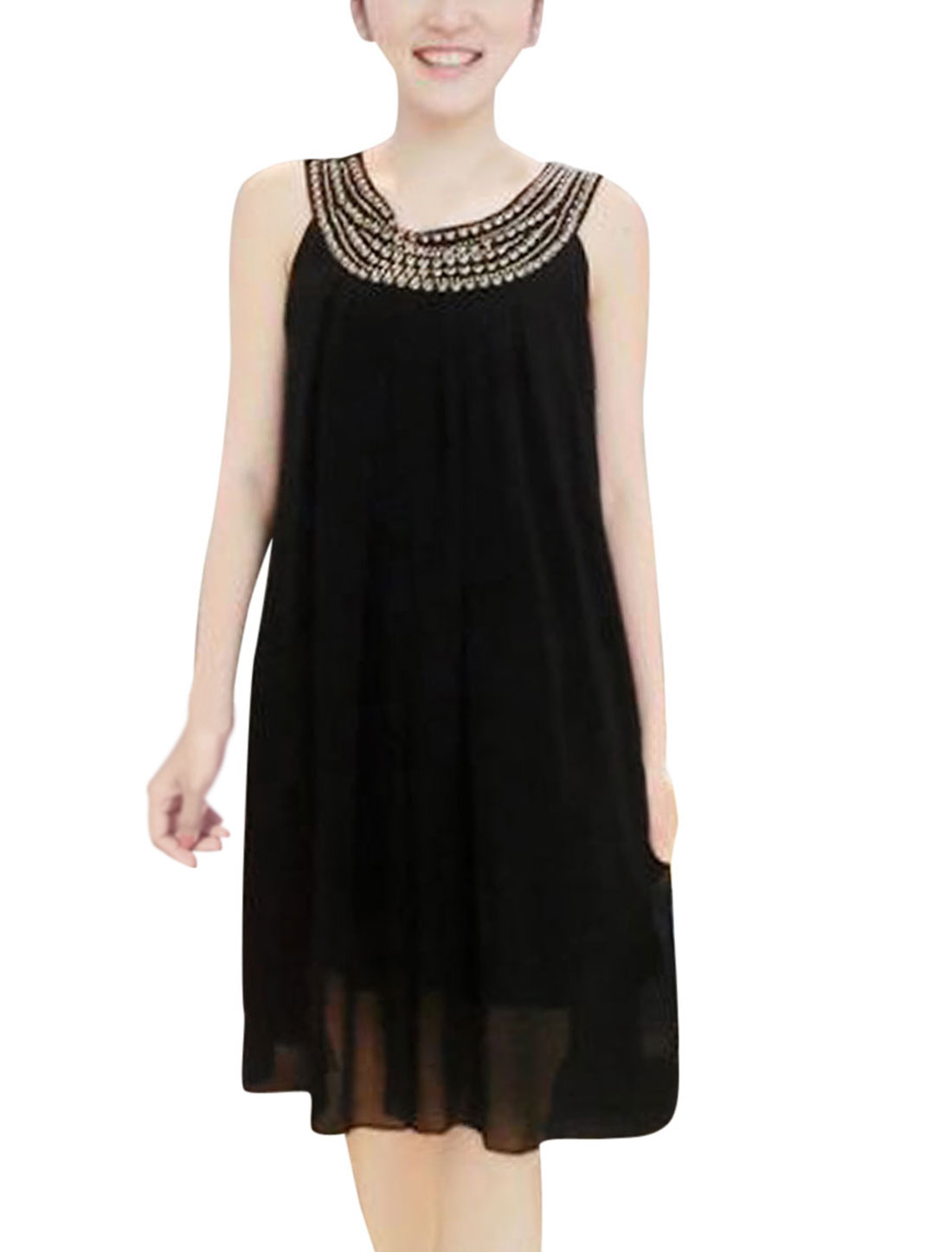 Lady Round Neck Sleeveless Beads Decor Lining Dress Black XS