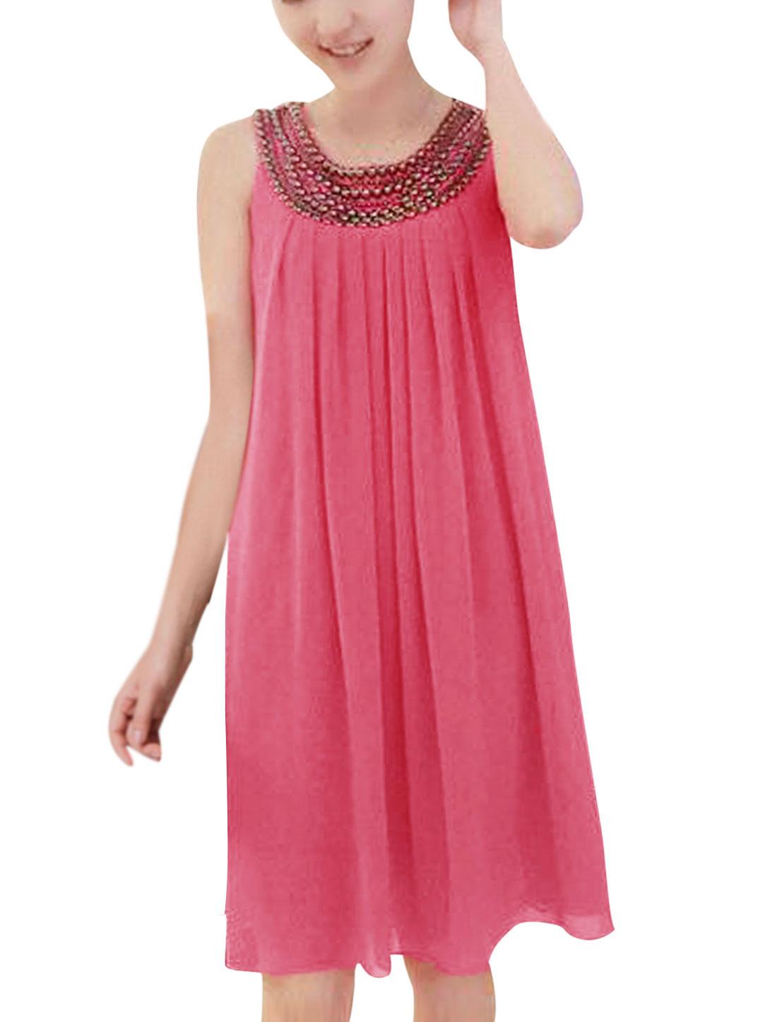 Lady Round Neck Sleeveless Beads Decor Stylish Dress Fuchsia XS