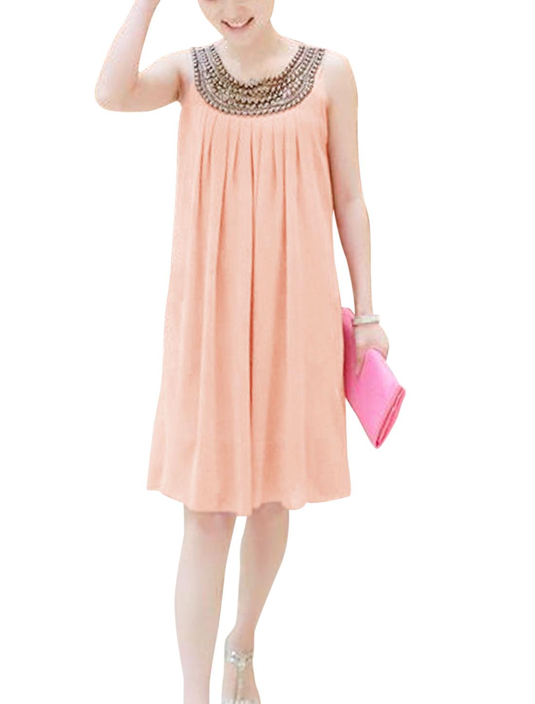Lady Round Neck Sleeveless Beads Decor Leisure Dress Pink XS