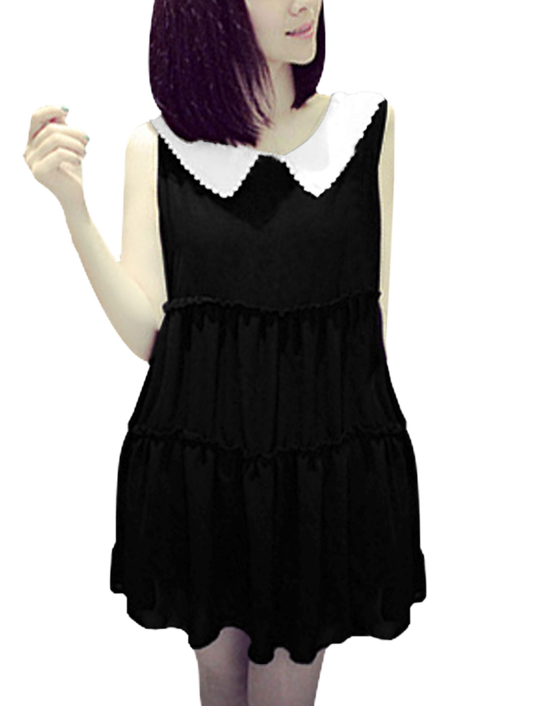 Lady's Sleeveless Round Neck Doll Collar Ruched Detail Chiffon Blouse Black S