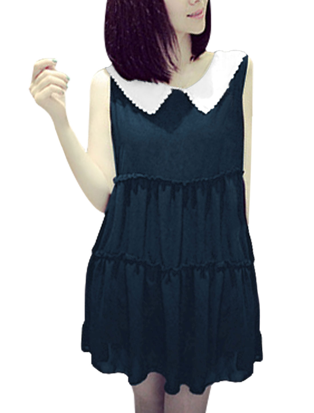 Woman's Peter Pan Collar Ruched Detail Sleeveless Chiffon Blouse Navy S