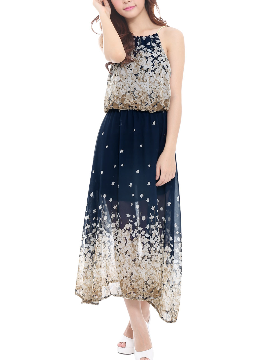 Lady Self-Tie Halter Neck Floral Prints Dress Beige Navy Blue XS