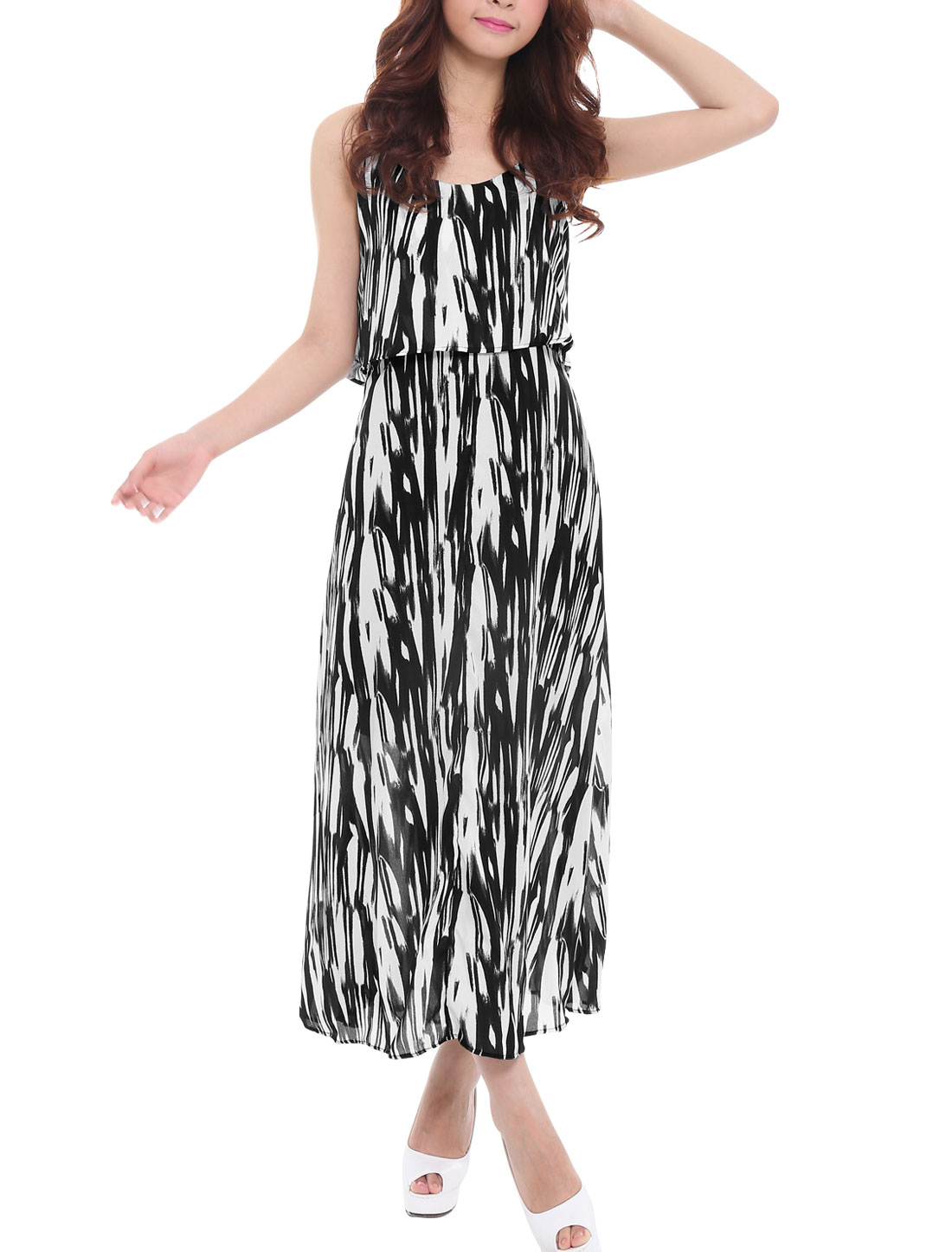 Lady Spaghetti Strap Elastic Waist Allover Print Ruffle Chiffon Dress Black XS