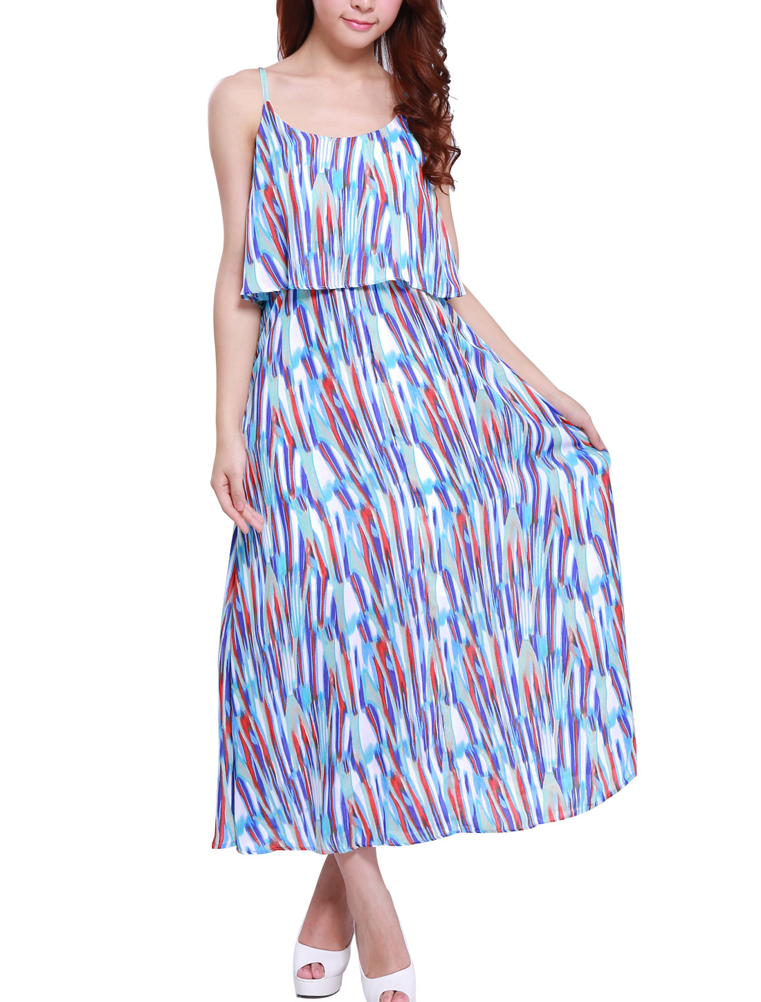 Women's Elastic Waist Allover Print Summer Fit Chiffon Dress Purple XS