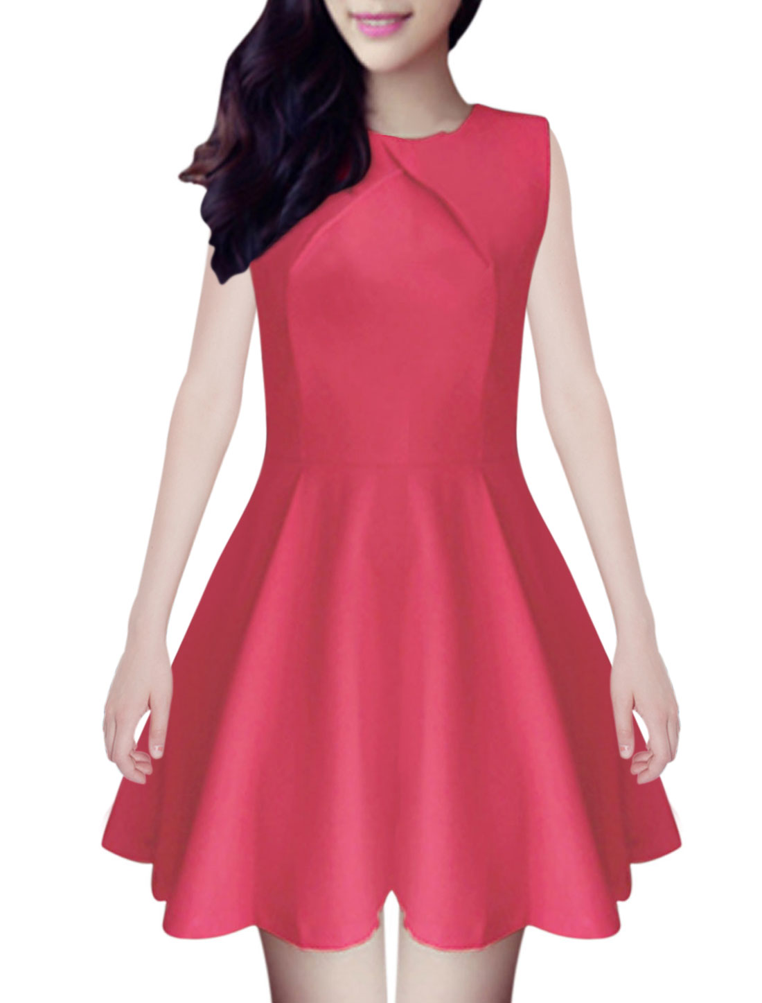 Lady Crew Neck Sleeveless Concealed Zipper Back Skater Dress Red XS