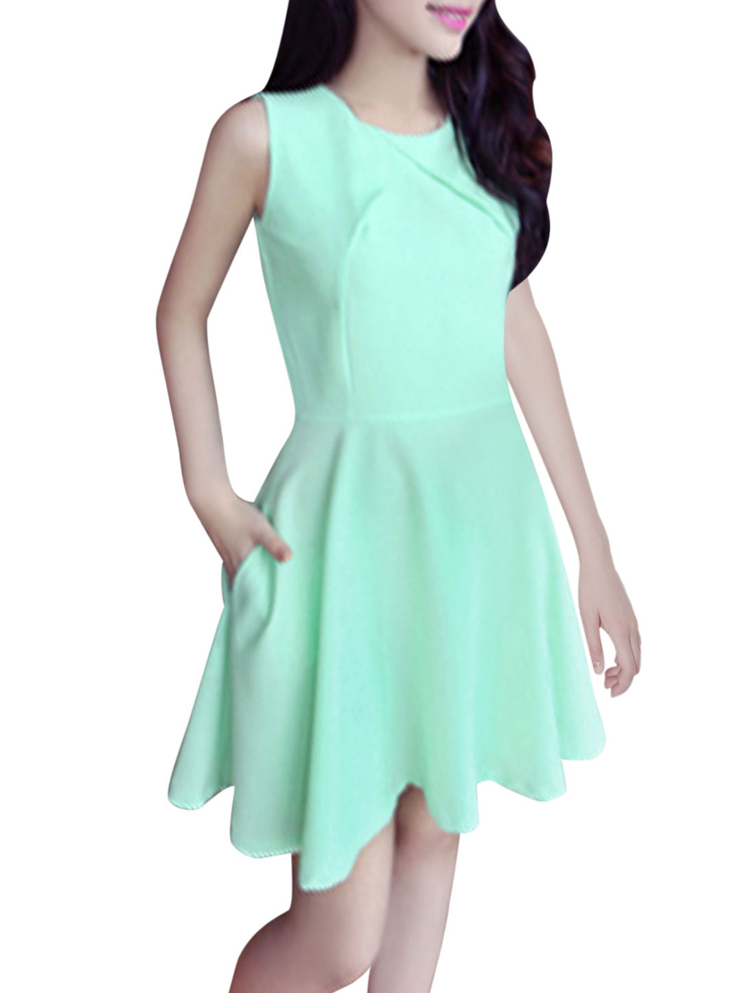Lady Chic Sleeveless Concealed Zipper Back Skater Dress Mint XS