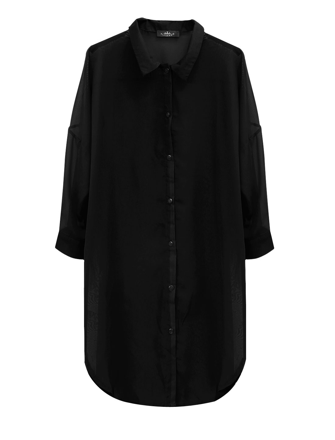 Lady Single Breasted 3/4 Batwing Sleeve Long Chiffon Cardigan Black S