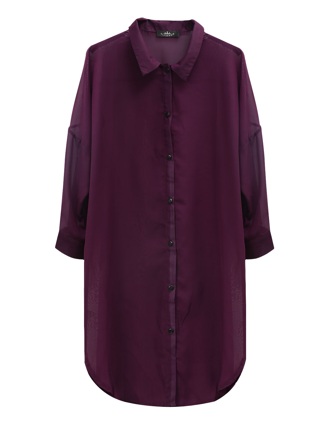 Lady 3/4 Batwing Sleeve Semi Sheer Long Chiffon Cardigan Dark Purple S