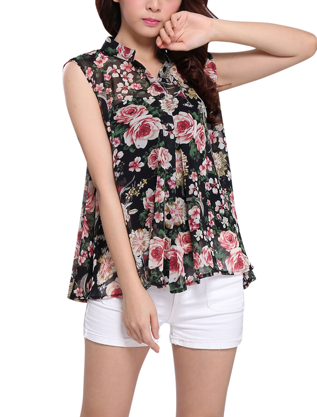 Lady Stand Collar Single Breasted Floral Prints Blouse Black XS