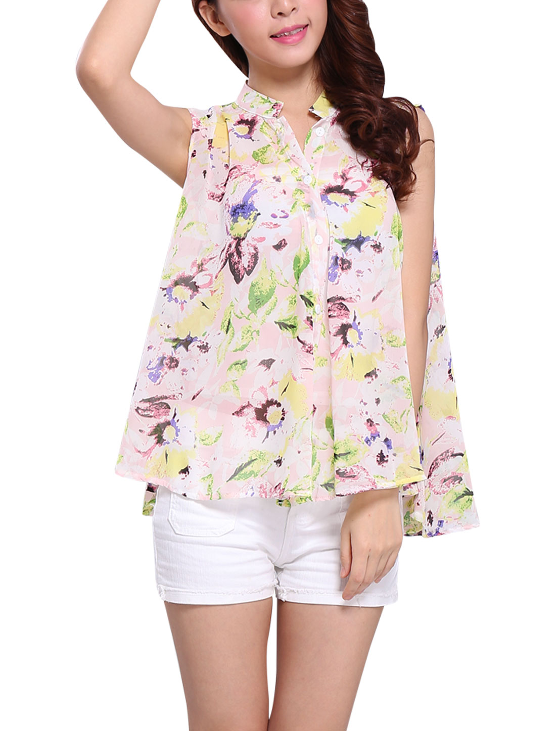 Lady Sleeveless Single Breasted Floral Prints Blouse Pink XS