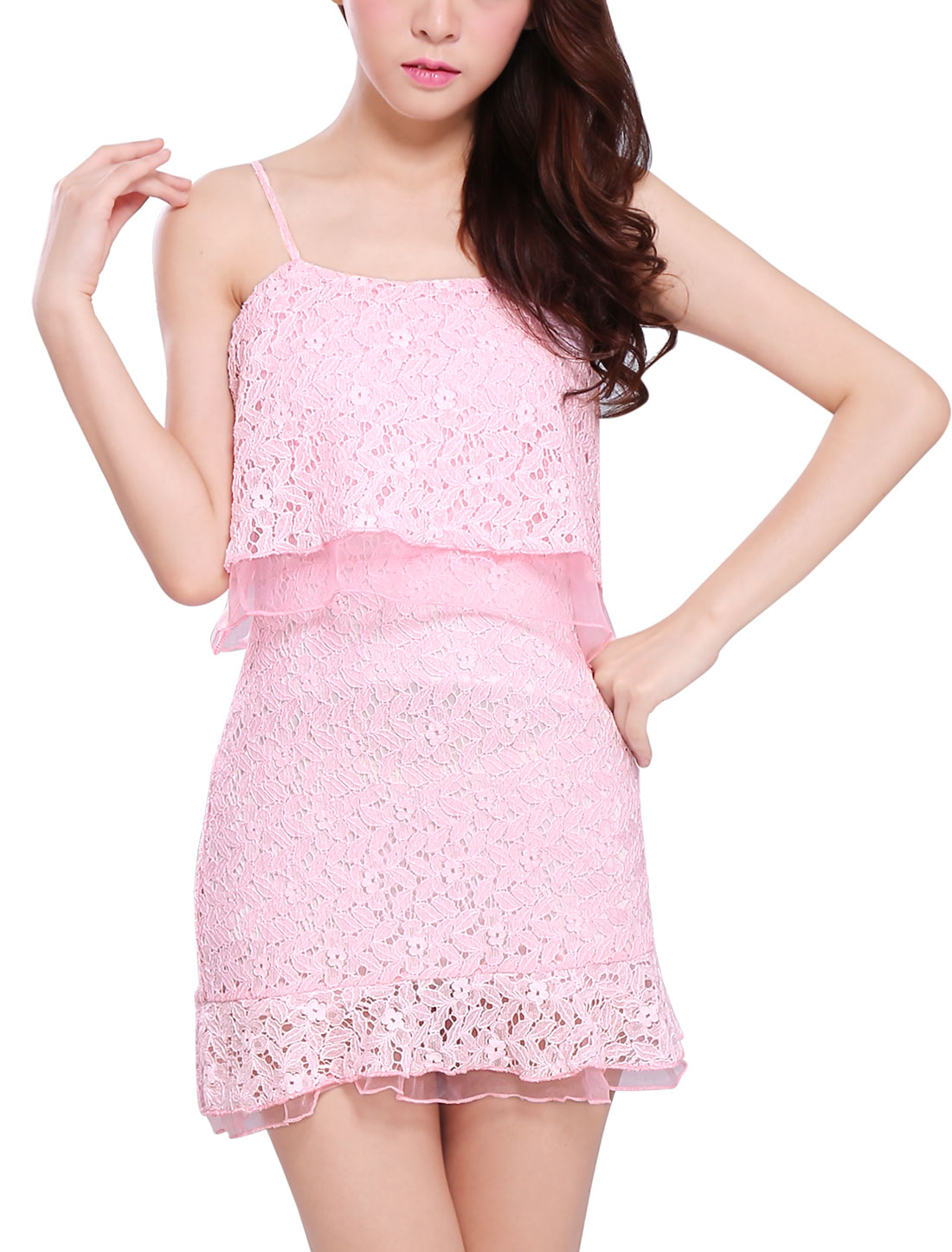 Lady Spaghetti Strap Concealed Zipper Back Crochet Tunic Top Pink S