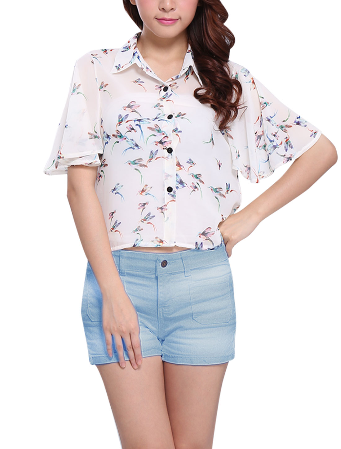 Fly Bird Print Semi Sheer Short Cape Sleeve White XS Chiffon Blouse for Lady