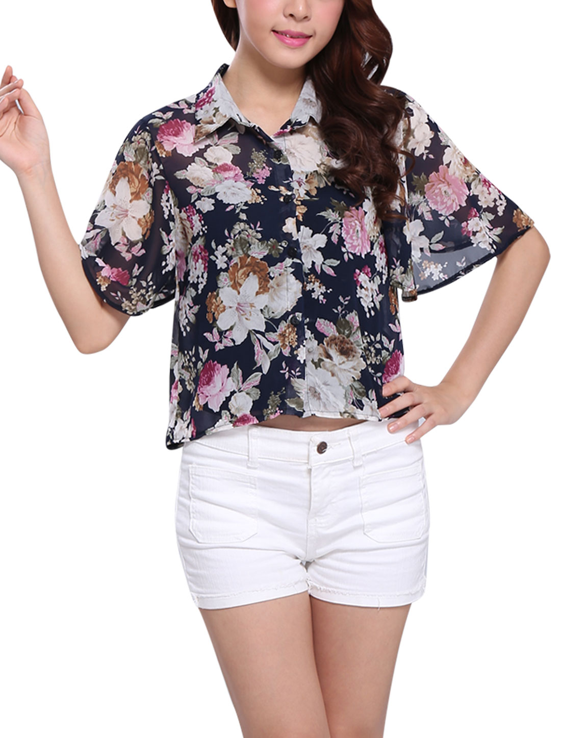 Woman Single Breasted Cape Sleeve Point Collar Floral Print Chiffon Shirt Multicolor XS