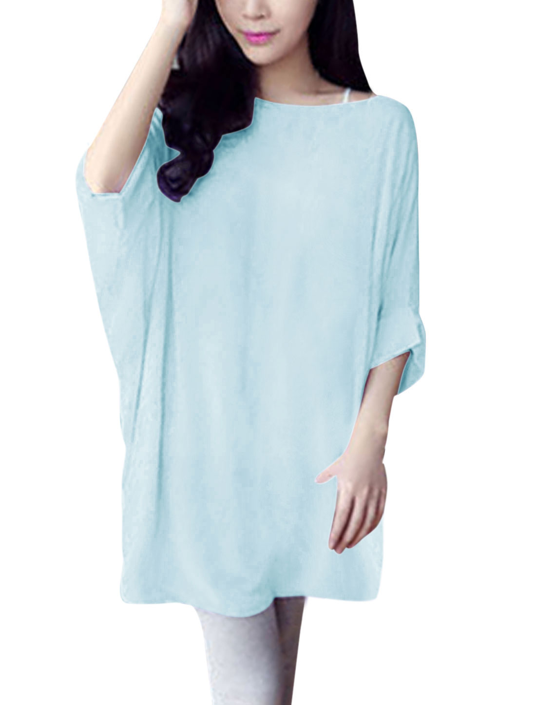 Ladies Summer Fit Semi Sheer Bat Sleeve Chiffon Blouse Light Blue S