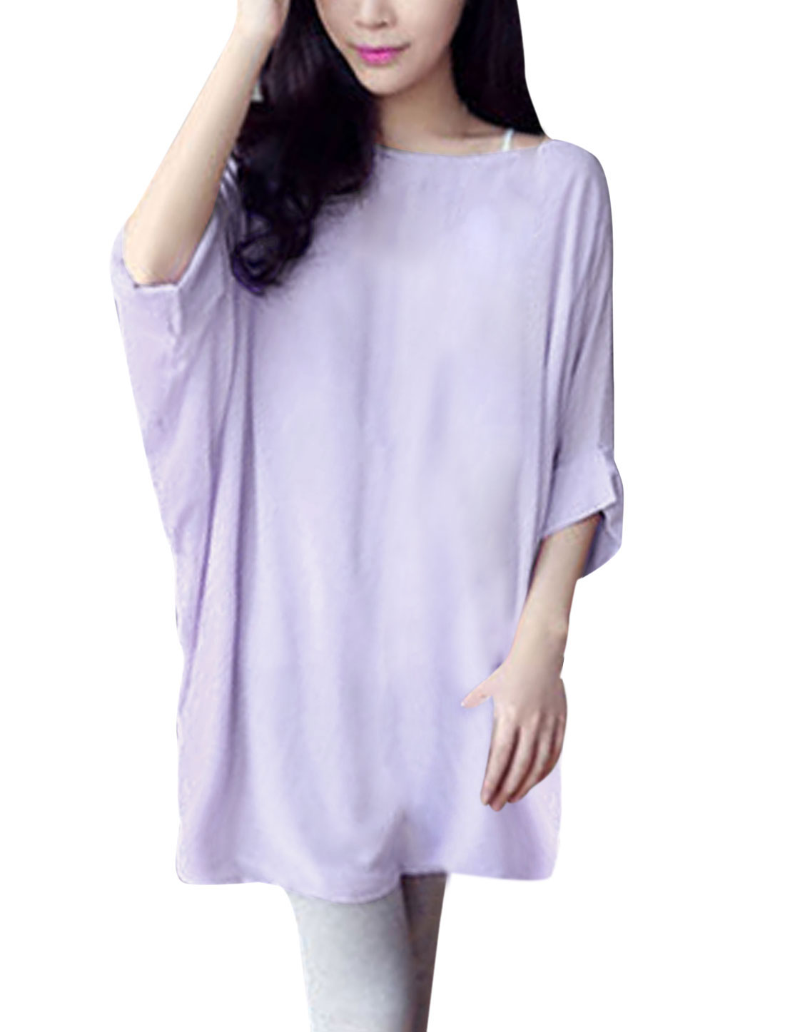 Lady Round Neck Short Batwing Sleeve Semi Sheer Chiffon Blouse Light Purple S