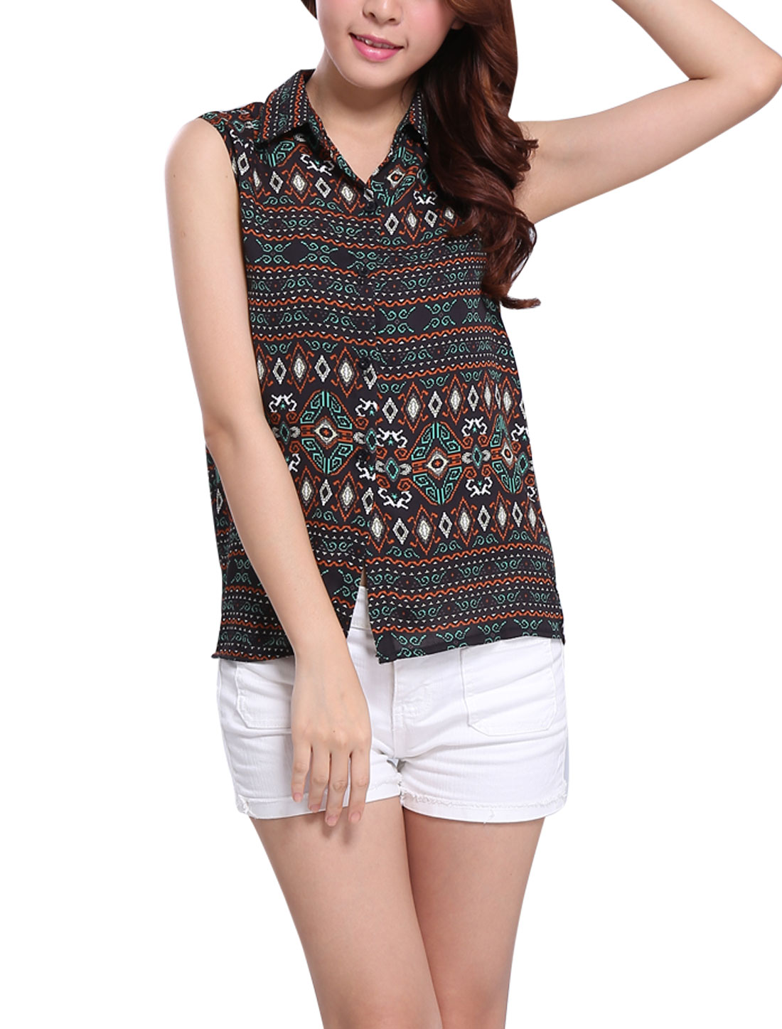 Geometric Pattern Point Collar Sleeveless Black XS Chiffon Blouse for Ladies