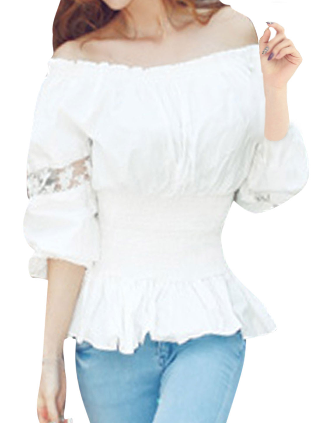 Women Elastic Off Shoulder Lace Up Back Smocked Waist Top White XS