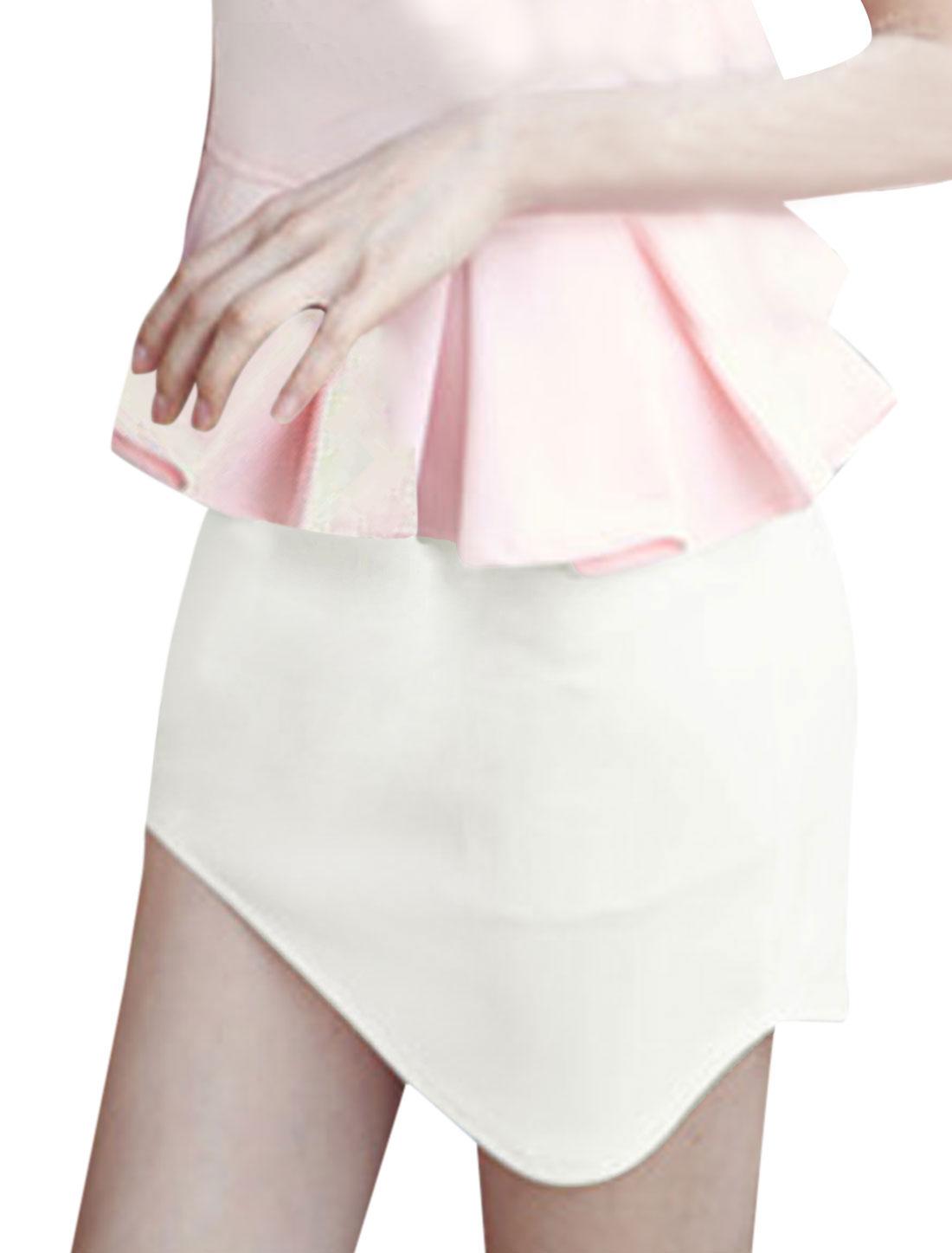Women Hidden Zipper Back Natural Waist Irregular Hem Skir White M
