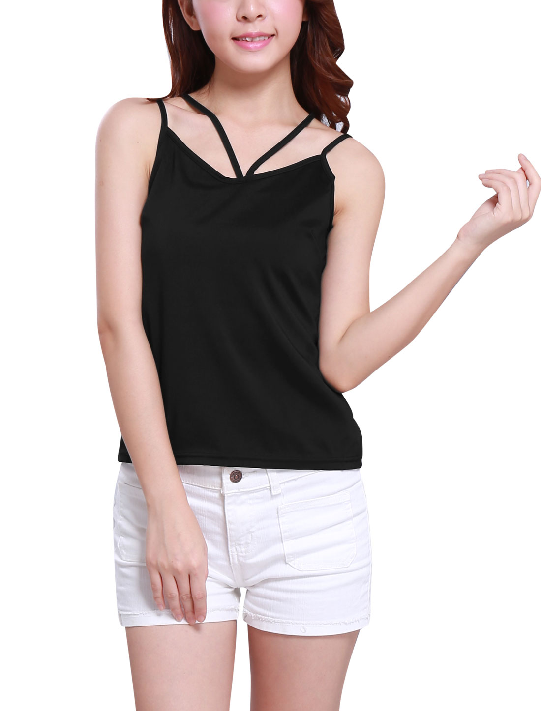 Ladies Sexy Trendy Deep V Neck Strappy Design Back Cami Black XS