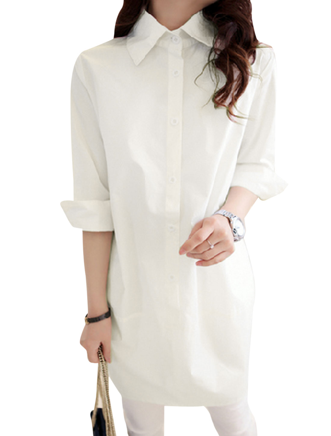 Lady Point Collar 3/4 Sleeve Single Breasted Tunic Shirt White XS