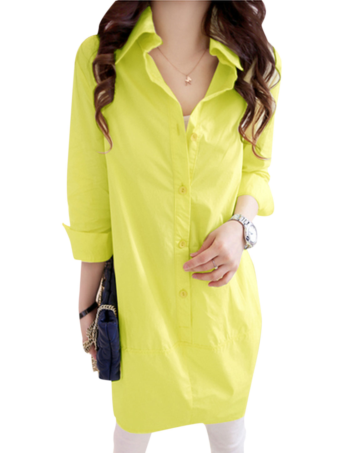 Lady 3/4 Sleeve Single Breasted Tunic Shirt Lime Yellow XS