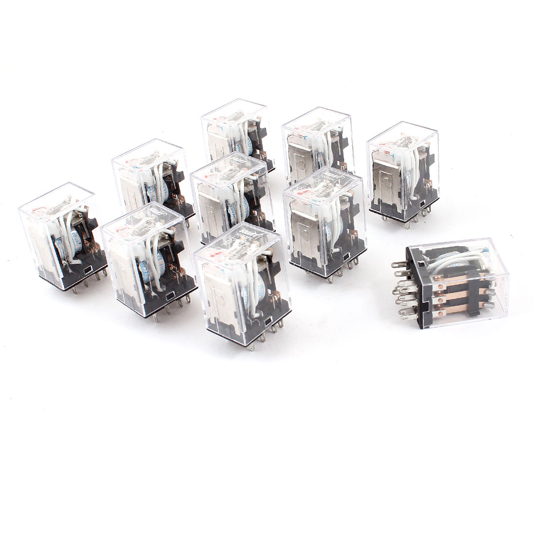 HH53PL AC 110/120V Coil 11-Pin 3PDT Red LED Indicator Light Power Relay 10 Pcs