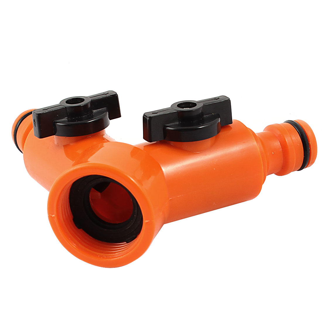25mm Female Thread Orange Plastic 2 Outlets Hose Connector Adapter