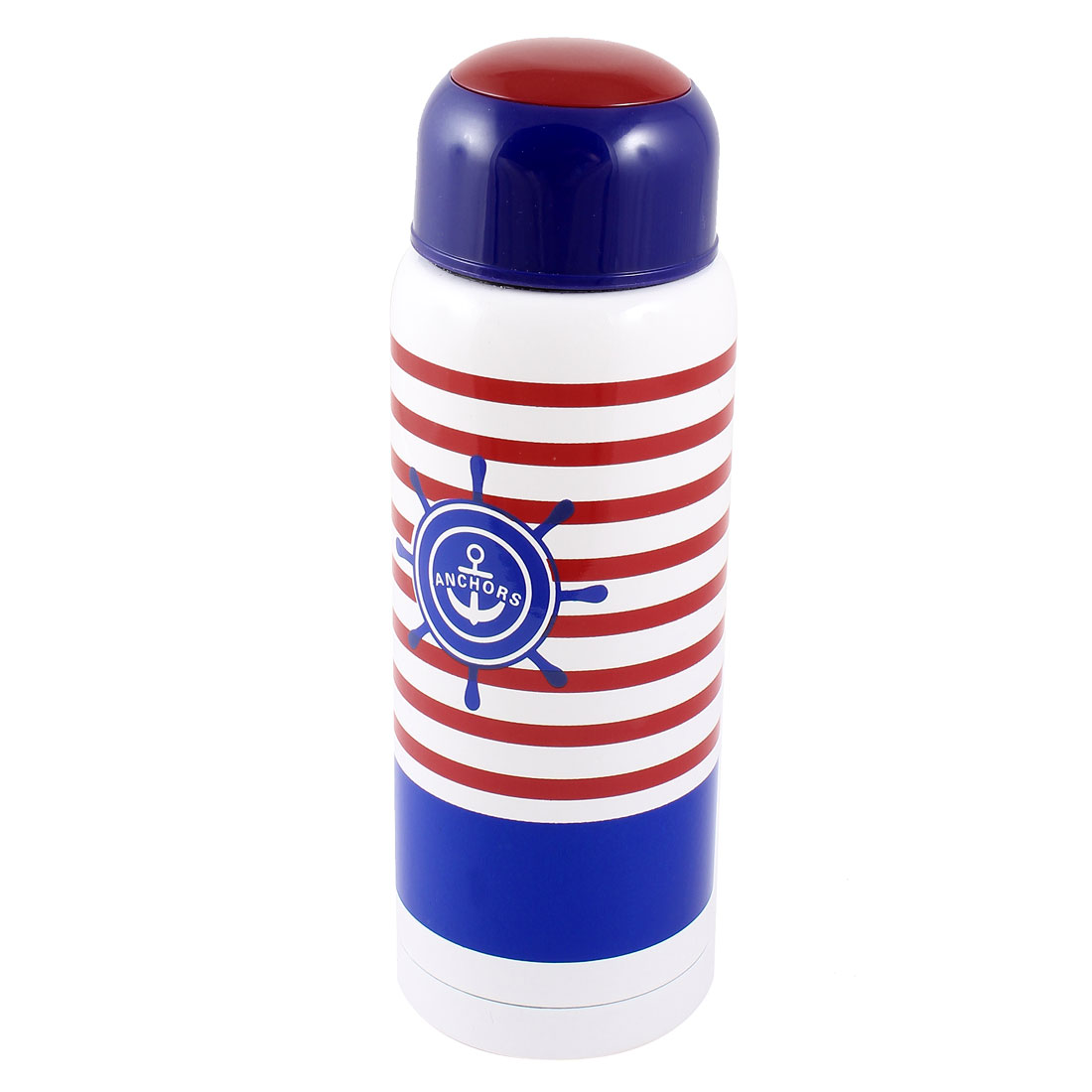 260ml Blue White Red Portable Camping Hiking Stripe Pattern Stainless Steel Coffee Tea Vacuum Insulating Bottle Water Cup