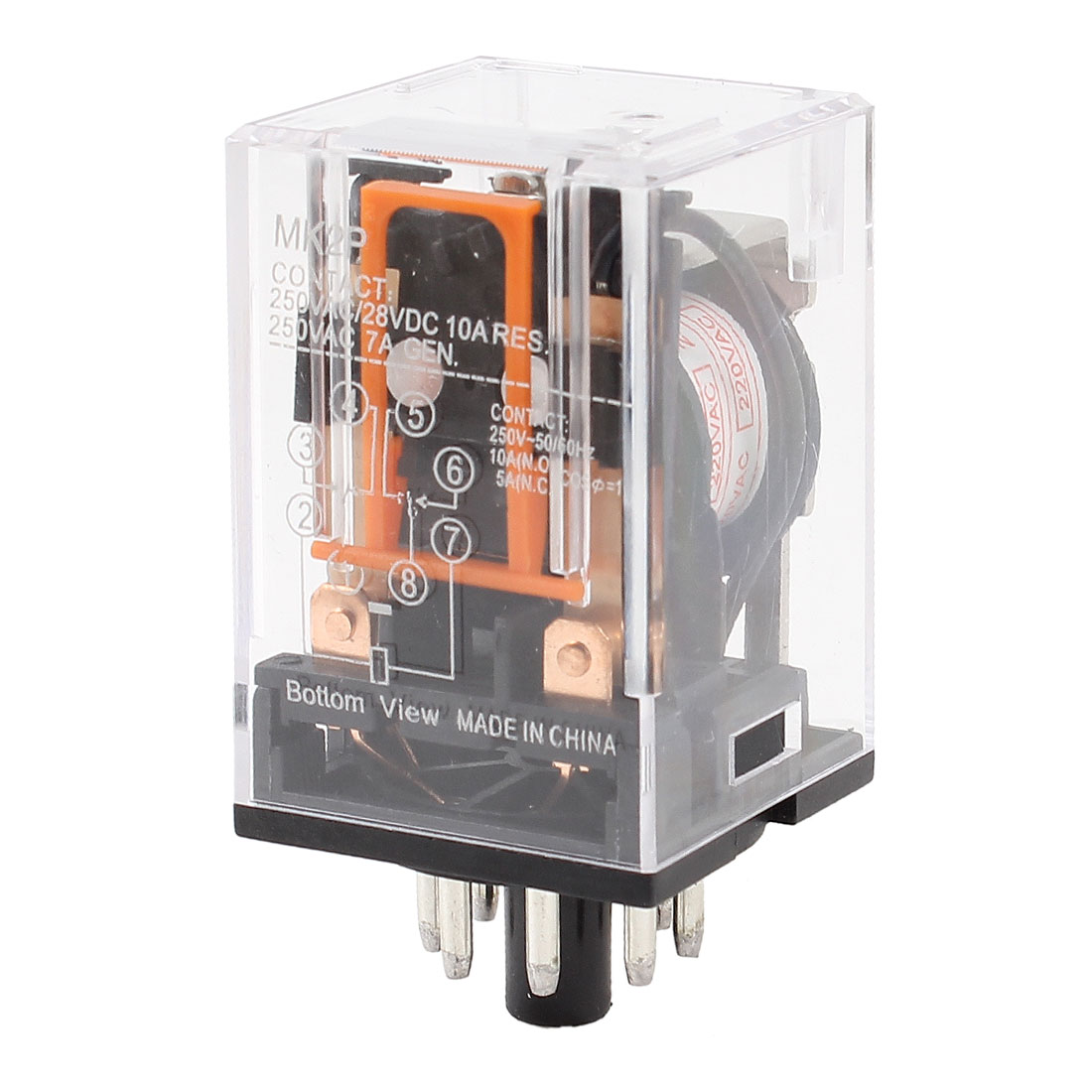 AC 220V Coil Electromagnetic Power Relay 8 Round Pins DPDT MK2P