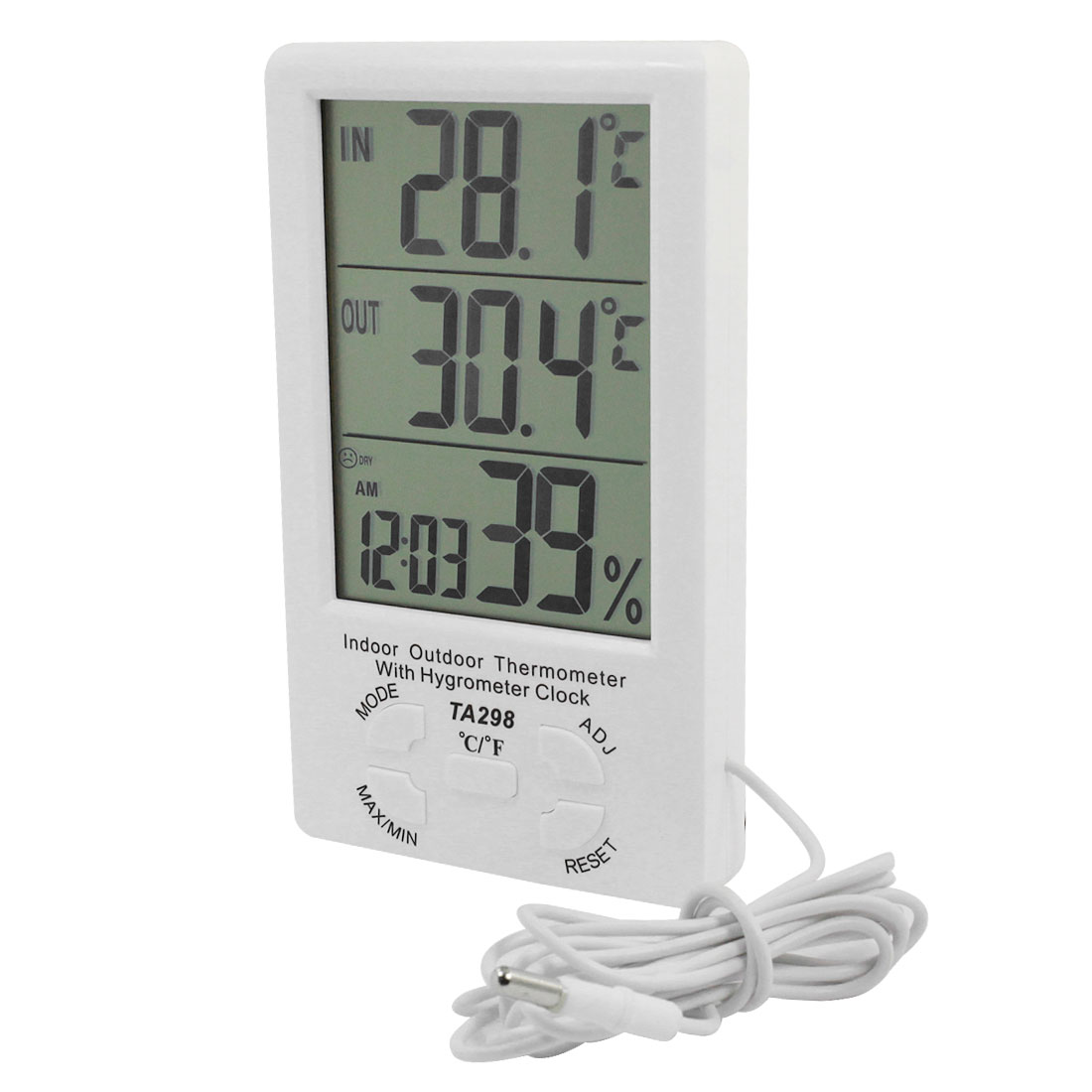 LCD Digital Alarm Clock Temperature Humidity Meter White TA298