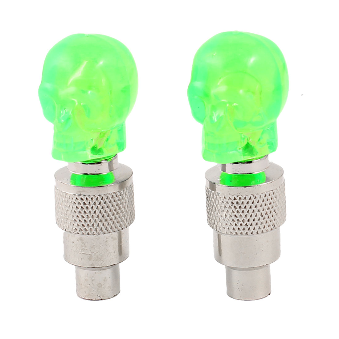 Skull Head Design Green Light Motorcycle Car Tire Valve Cap Cover 2 Pcs