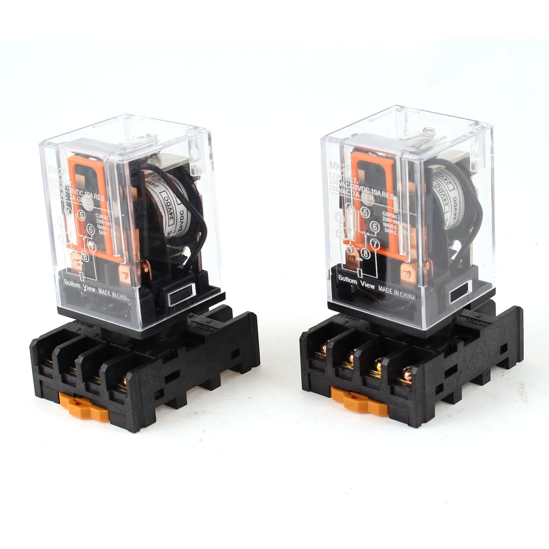 DC 24V Coil Voltage 8 Pin DPDT Electromagnetic Power Relay 2 Pcs with Base