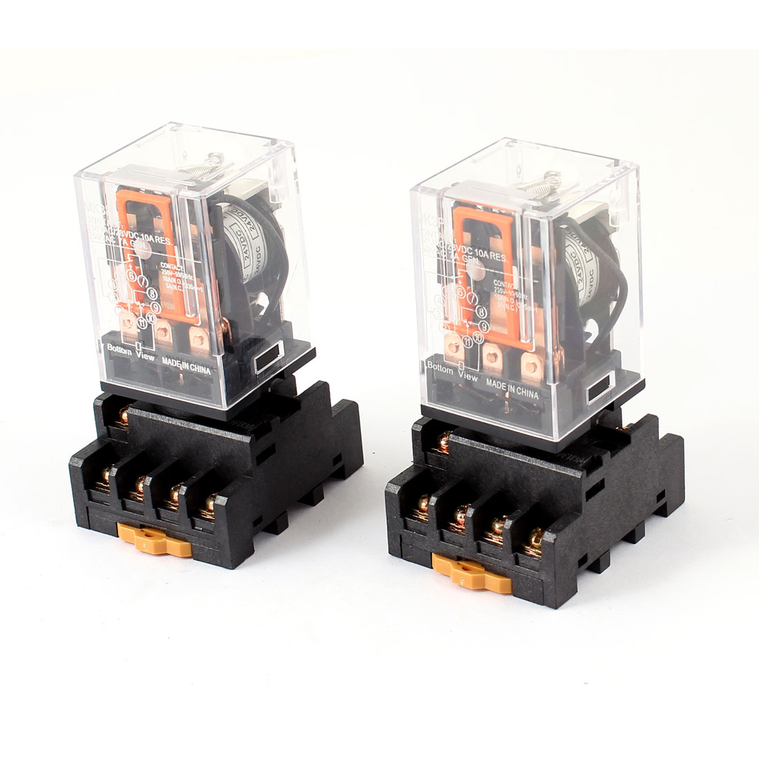 DC 24V Coil 3PDT 11-Pin Power Relay 2 Pcs + 35mm DIN Rail Socket