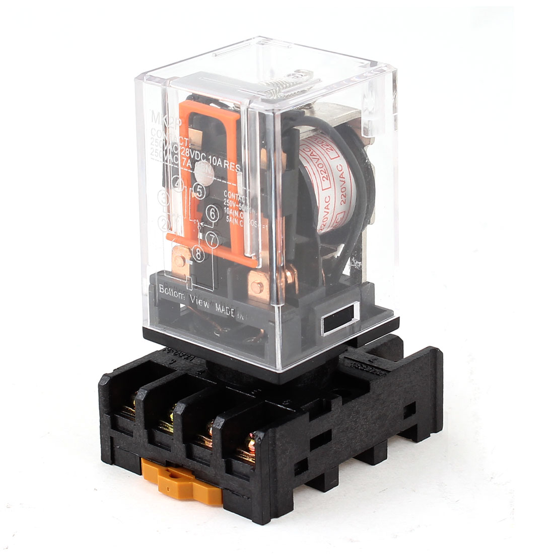 MK2P AC 220V 8 Pins DPDT Coil Power Relay w 35mm DIN Rail Socket