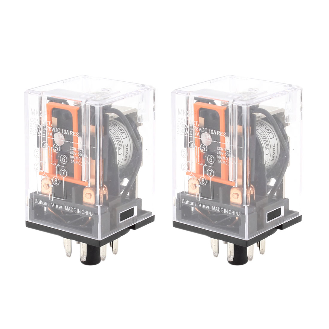 Motor Control 8 Pin DPDT DIN Rail Electromagnetic Relay DC 24V Coil 2 Pcs