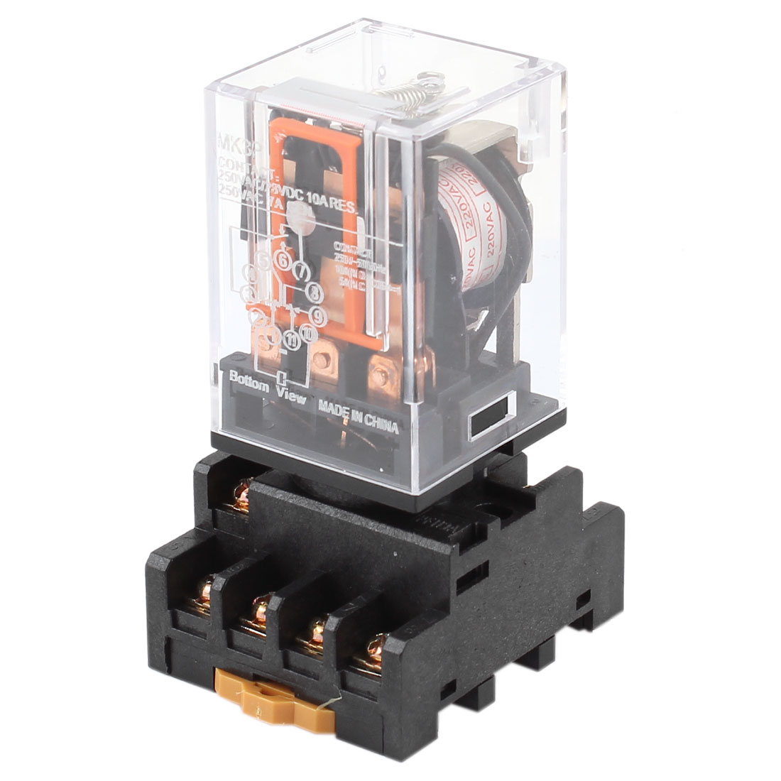 AC 220V Coil Plastic Shell 3PDT General Purpose Power Relay w Socket Base