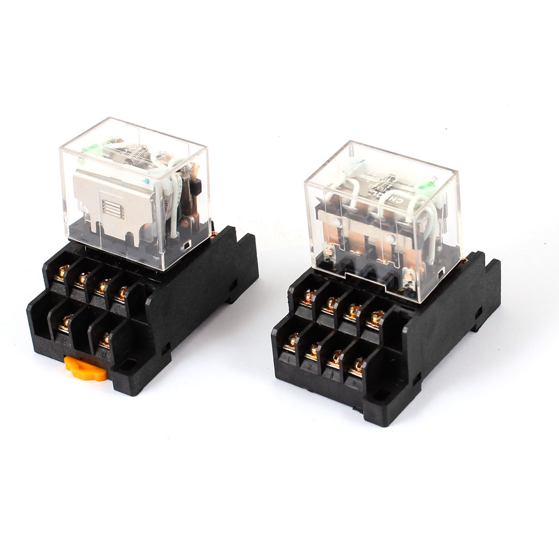 HH64P DC 24V Coil 4PDT 14Pin 35mm DIN Rail Electromagnetic Power Relay 2 Pcs