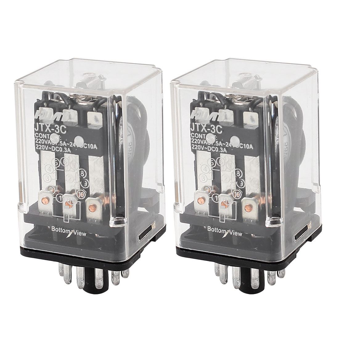 2 Pcs Motor Control 11 Pin 3PDT Electromagnetic Power Relay DC 24V Coil