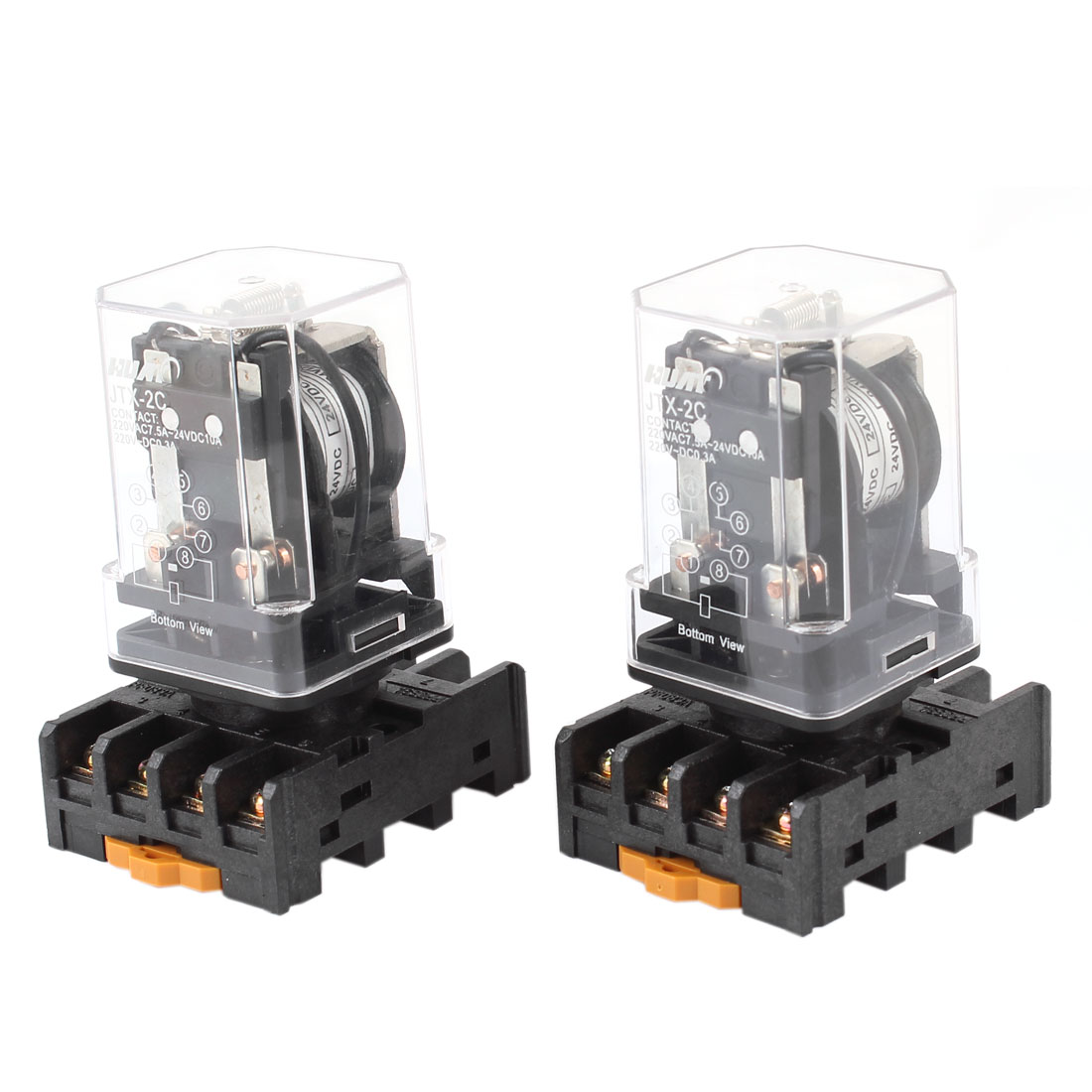 2 Pieces JTX-2C DC 24V 8 Pins DPDT Coil Power Relay w 35mm DIN Rail Socket