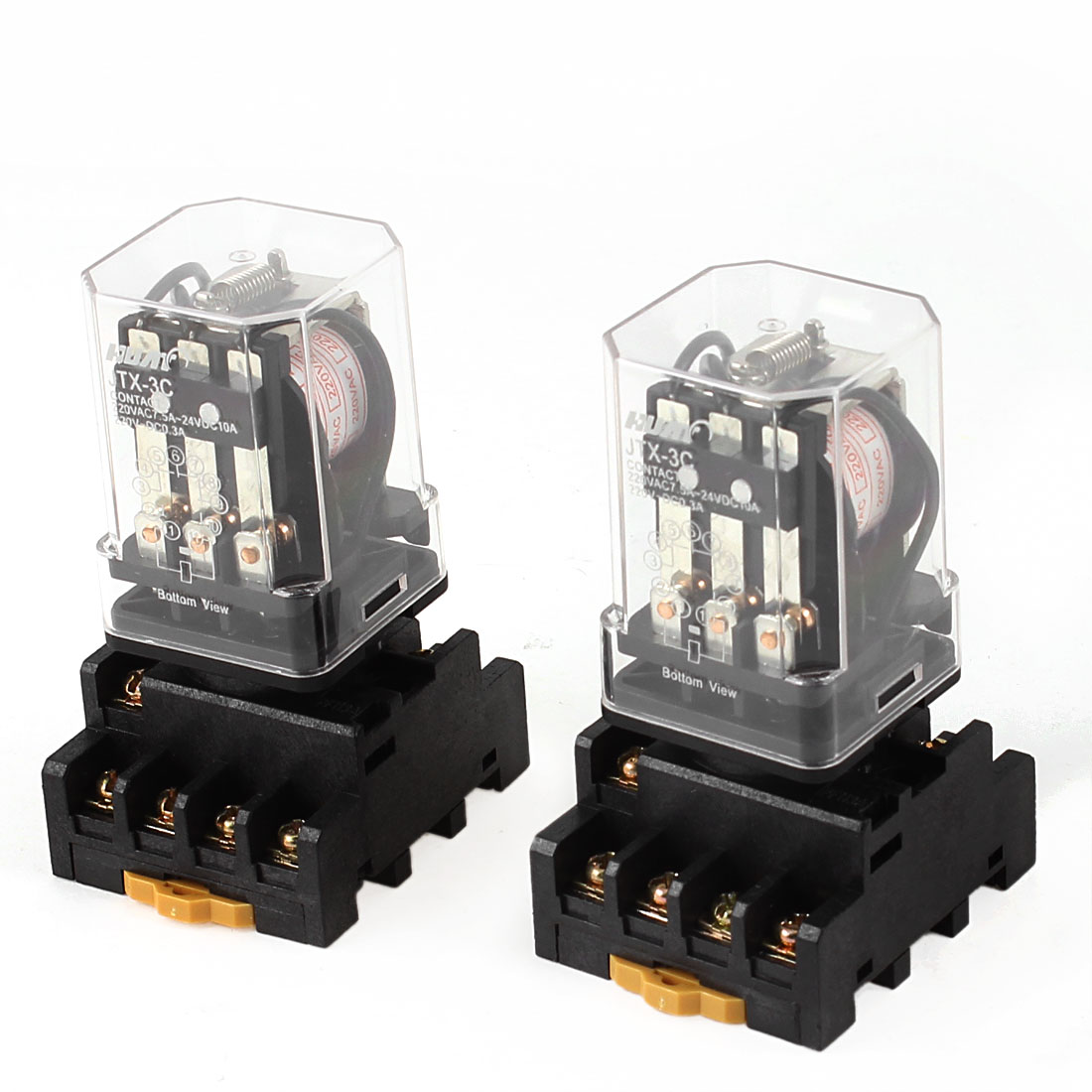 AC 220V Coil 3PDT 11 Pins Electromagnetic Relay 2pcs + 35mm DIN Rail Socket Base